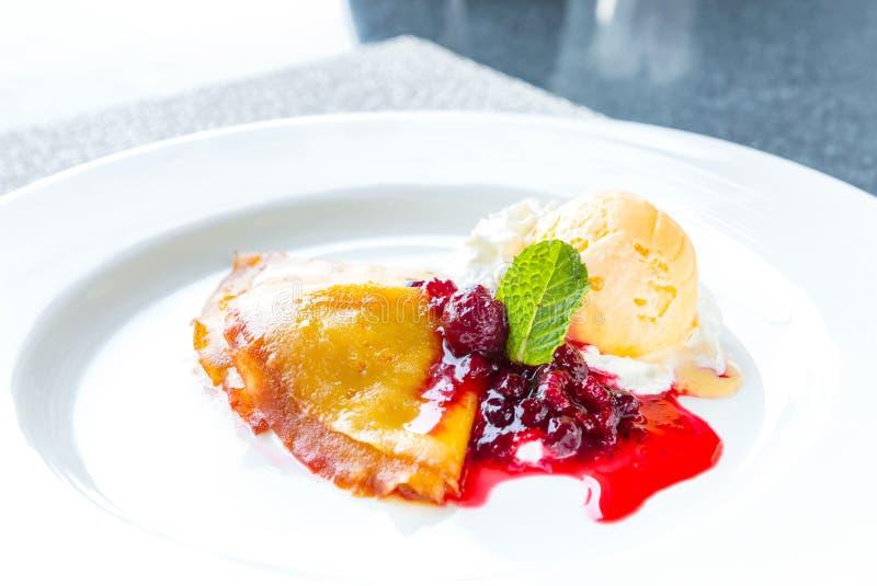 Raspberry Icecream pancake royalty free stock photography