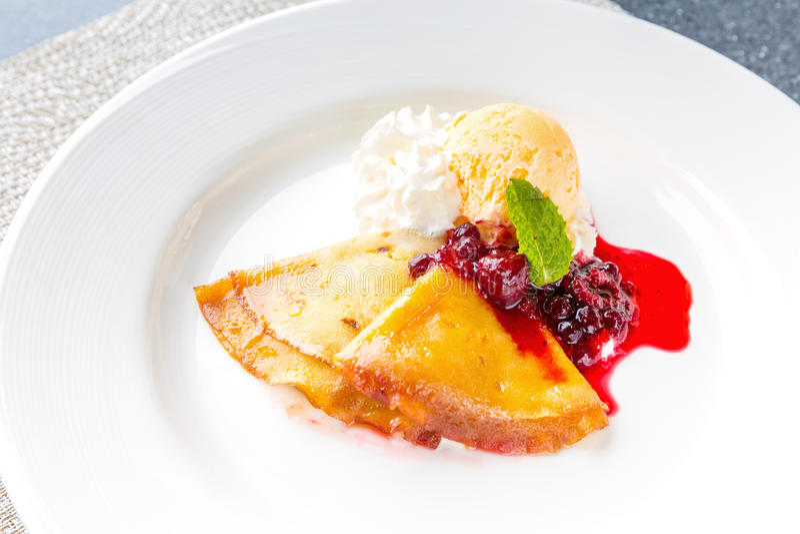 Raspberry Icecream pancake stock photos