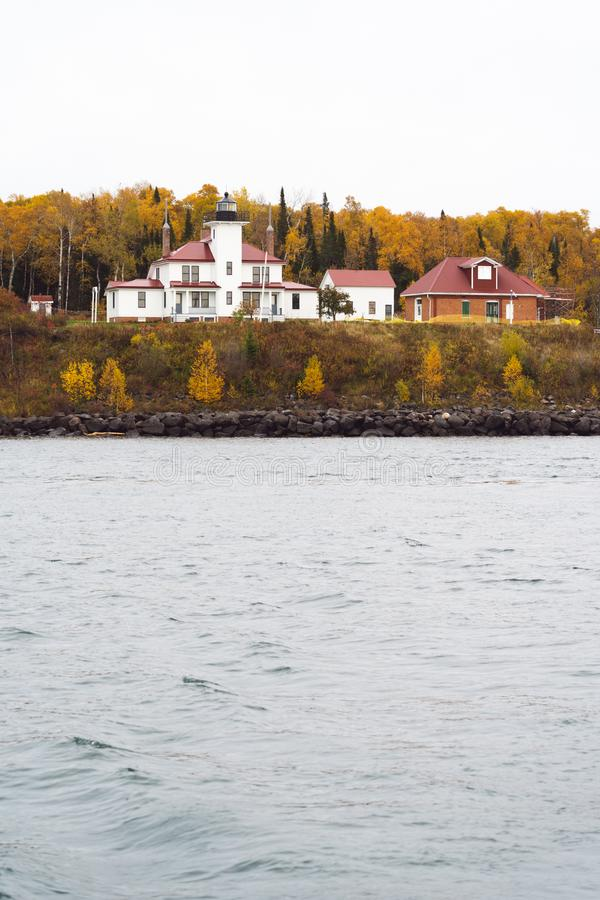 Raspberry Island Lighthouder in Wisconsin op Lake Superior in the Apostle Islands National Lakeshore stock afbeeldingen