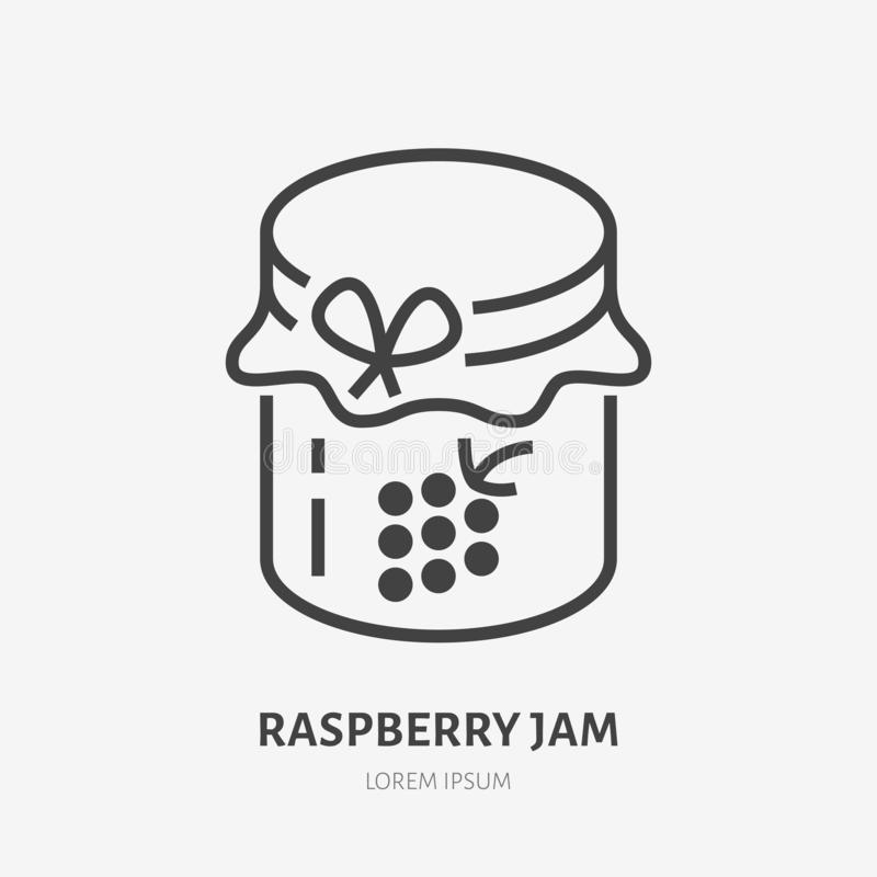 Raspberry jam flat line icon. Vector thin sign of glass jar with jelly logo. Preserve outline illustration stock illustration