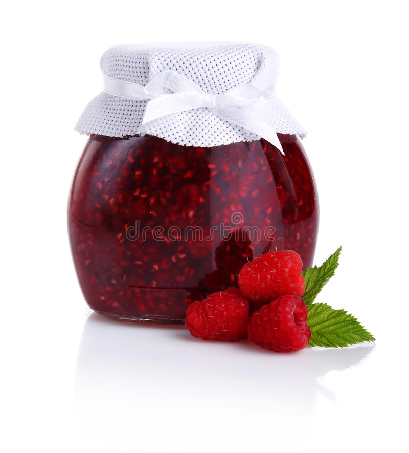 Raspberry jam isolated on white royalty free stock photography