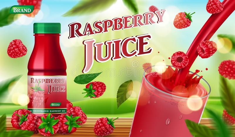 Raspberry juice bottle with splash on wooden table. fruit juice container package ad. 3d realistic summer ripe raspberry royalty free illustration