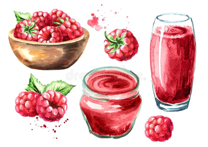 Raspberry juice, jam, marmalade and fresh ripe berries with leaves. Hand drawn watercolor illustration, isolated on white royalty free illustration