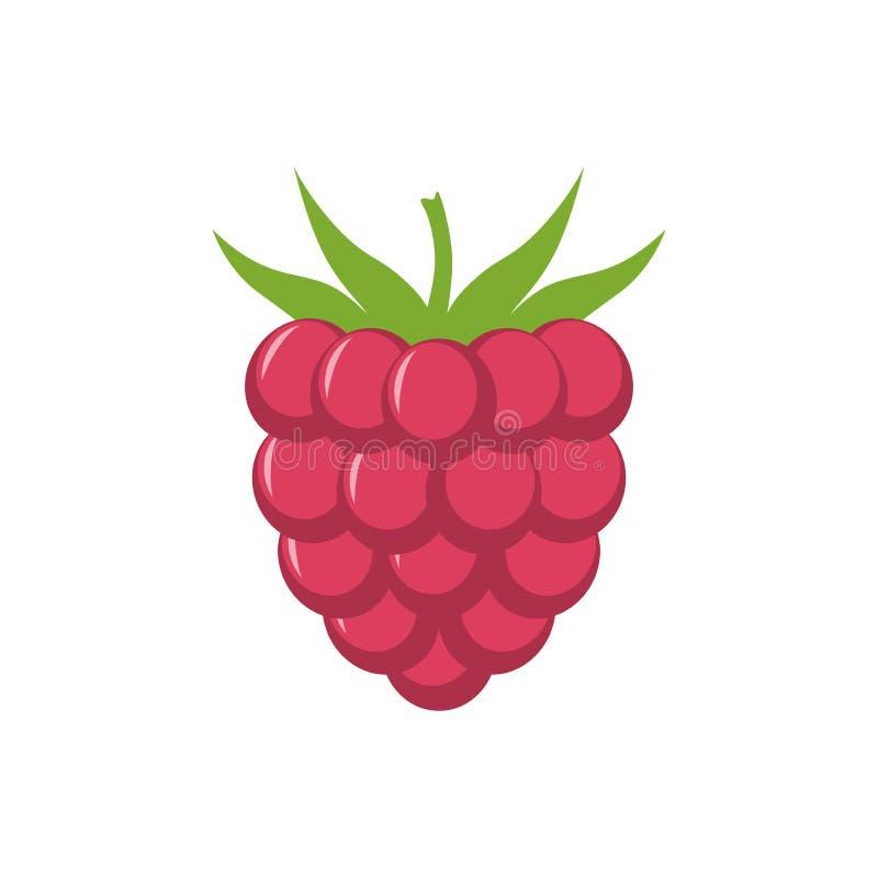 Raspberry with leaf vector icon. Raspberry icon clipart. Raspberry cartoon. Raspberry royalty free illustration