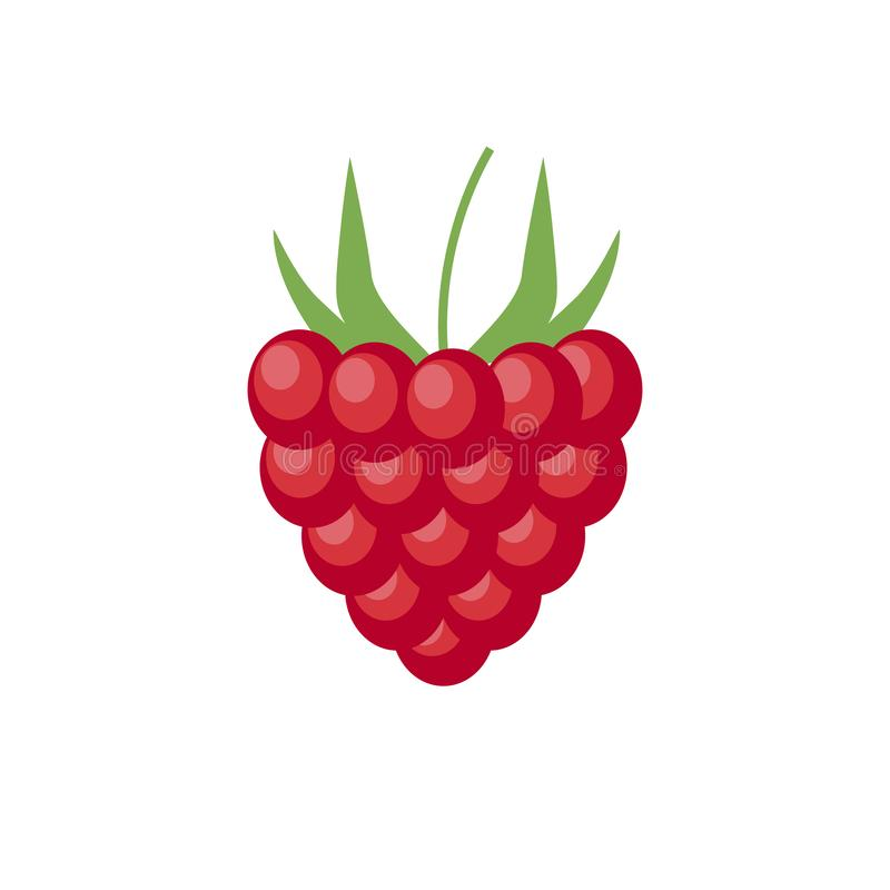 Raspberry with leaf vector icon. Raspberry icon clipart. Raspberry cartoon. eps10. Raspberry with leaf vector icon. Raspberry icon clipart. Raspberry cartoon royalty free illustration