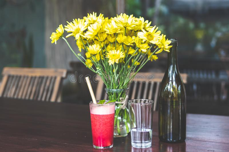 Raspberry lemonade on a wooden table. Iced summer drink. Bali stock photography