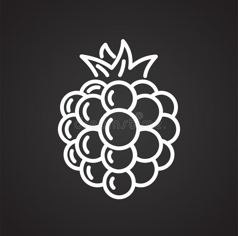 Raspberry line icon on black background for graphic and web design, Modern simple vector sign. Internet concept. Trendy symbol for vector illustration