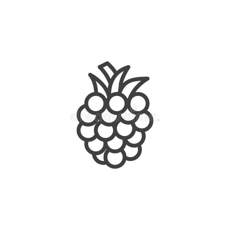 Raspberry line icon. Linear style sign for mobile concept and web design. Blackberry outline vector icon. Symbol, logo illustration. Vector graphics stock illustration