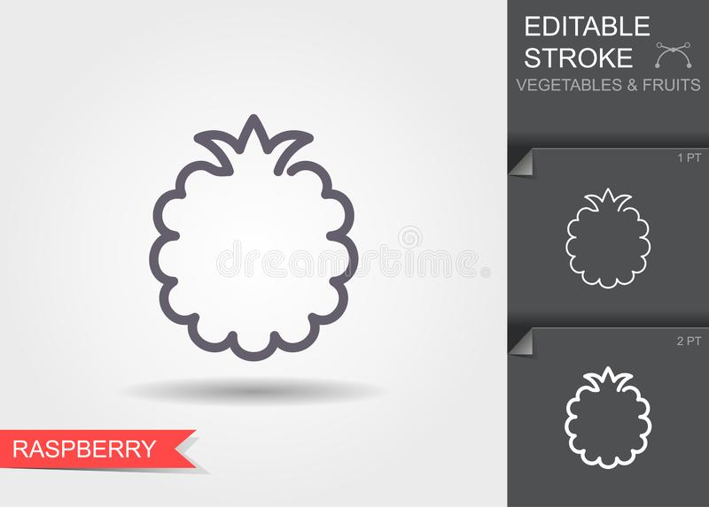 Raspberry line icon with shadow, outline vector illustration with editable stroke stock illustration