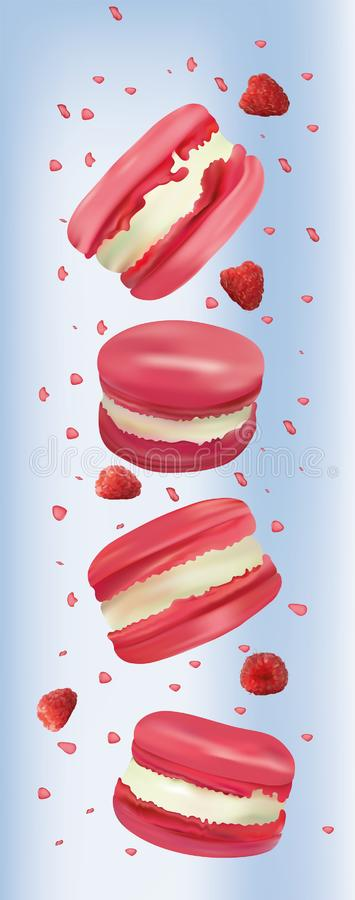 Raspberry macaroon in motion isolated on blue background. Sweet french macaroons close up. Falling macaroons. 3d vector royalty free illustration