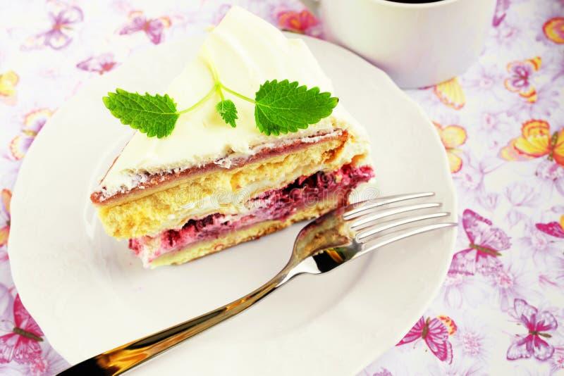 Raspberry meringue cake stock photo