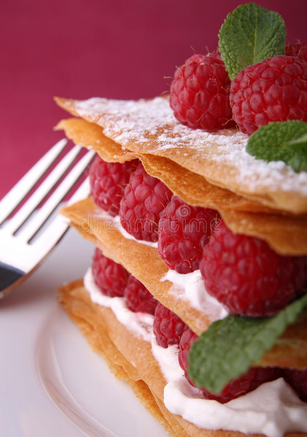 Download Raspberry mille feuille stock image. Image of cake, bake - 18922427