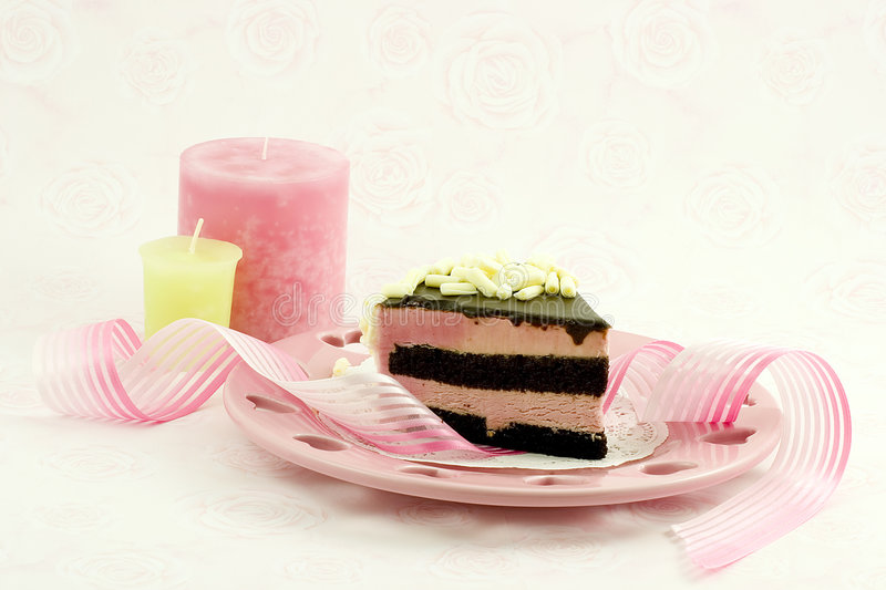 Raspberry mousse and ribbon royalty free stock images