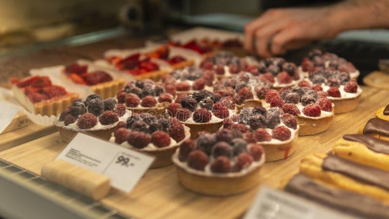 Raspberry pie in the shop stock image