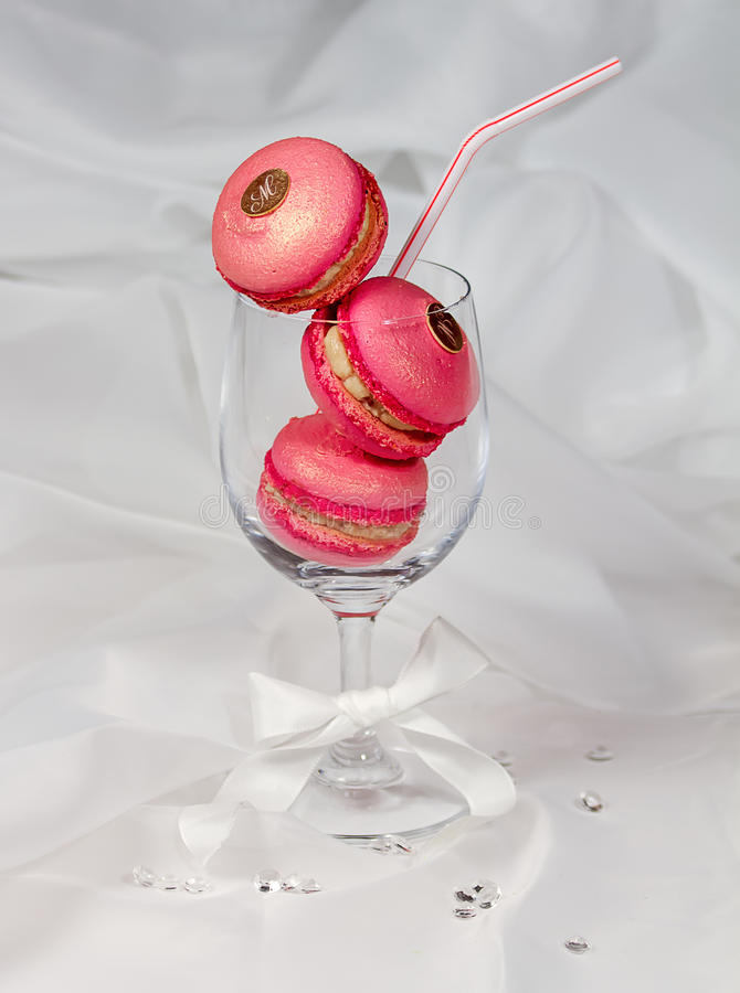 Raspberry Pink Macarons stock photos