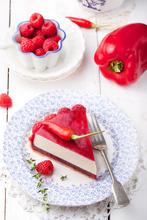 Raspberry and roast bell pepper mousse cake, cheesecake chili royalty free stock photography