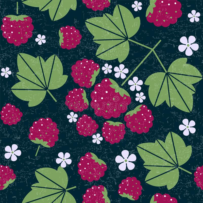 Raspberry seamless pattern. Raspberries with leaves and flowers on shabby background. Original simple flat illustration. vector illustration
