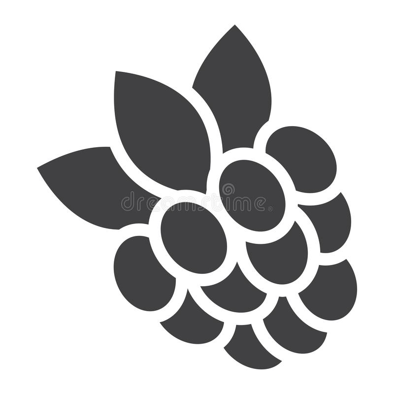 Raspberry solid icon, fruit and diet stock illustration