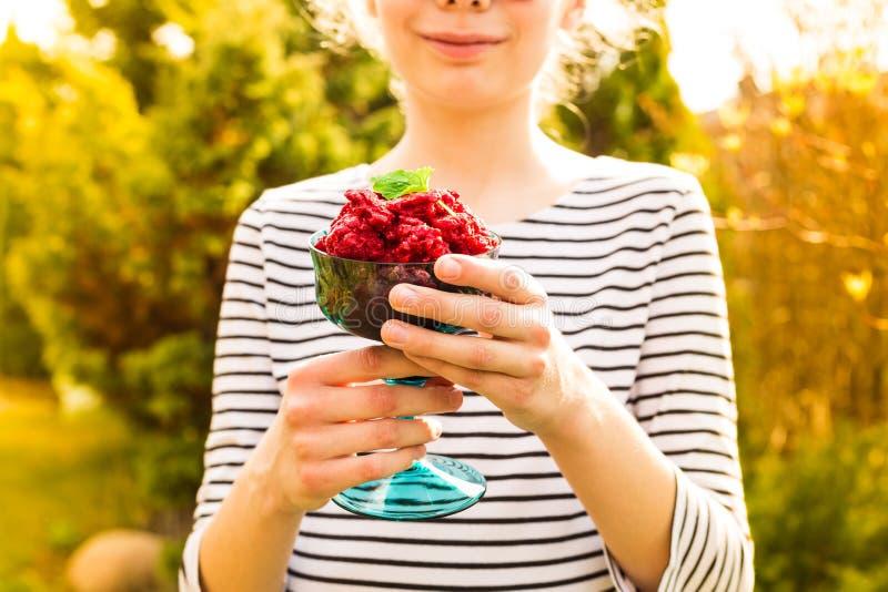 Raspberry sorbet in girl`s hands - summer refreshing dessert stock photos