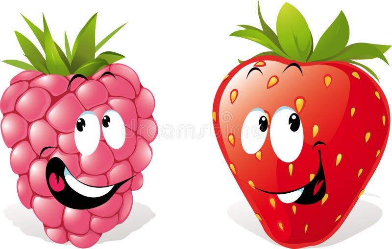 Raspberry, Strawberry Cartoons stock illustration