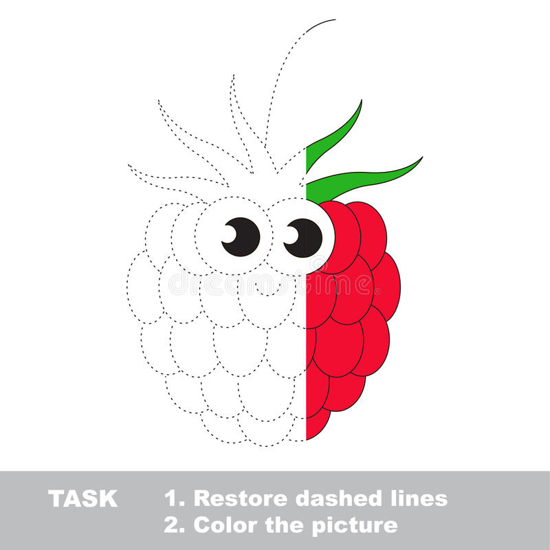 Free Raspberry To Be Colored. Vector Trace Game. Royalty Free Stock Images - 89844009
