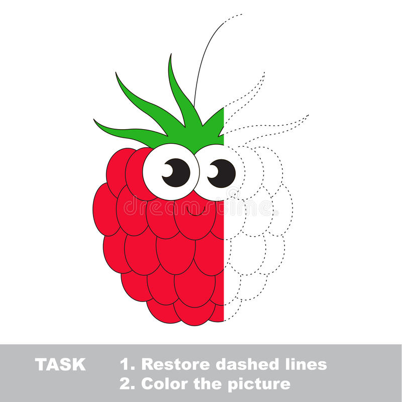 Free Raspberry To Be Colored. Vector Trace Game. Royalty Free Stock Photos - 89844048