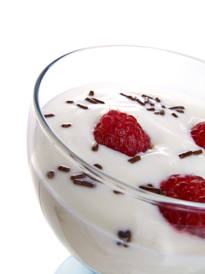 Free Raspberrys With Yoghurt. Royalty Free Stock Image - 8552476