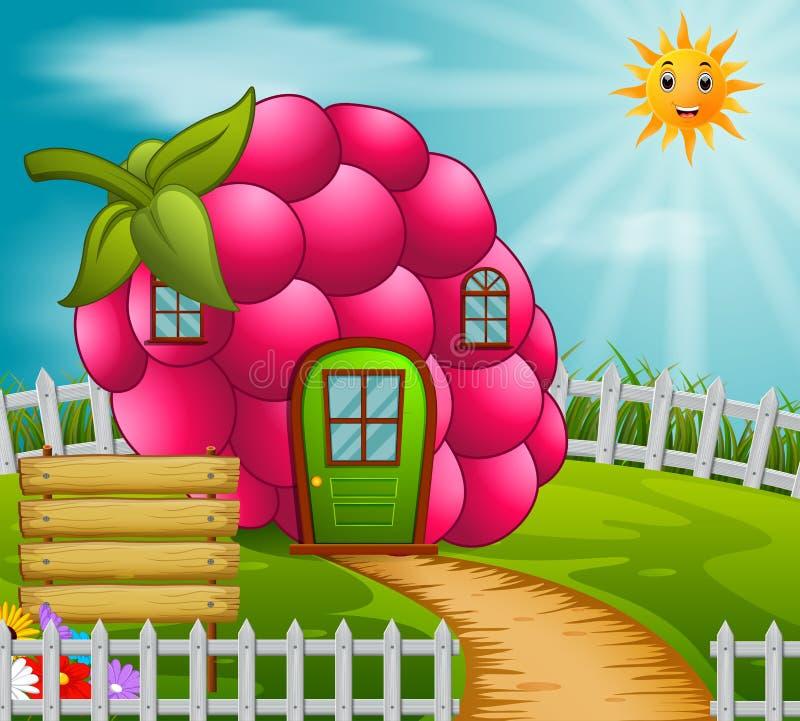 Raspberyy house in garden vector illustration