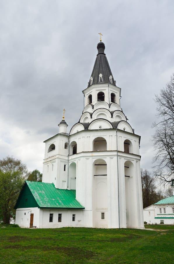 Raspyatskaya kerk-Klok Toren in Aleksandrovskaya Sloboda, Vladimir-gebied, Gouden ring van Rusland royalty-vrije stock fotografie
