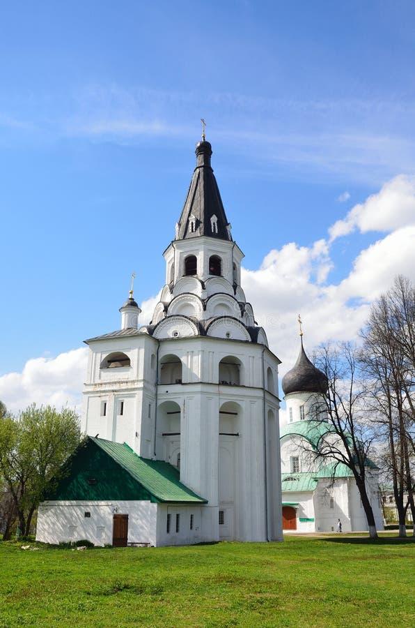 Raspyatskaya kerk-Klok Toren in Aleksandrovskaya Sloboda, Vladimir-gebied, Gouden ring van Rusland stock foto