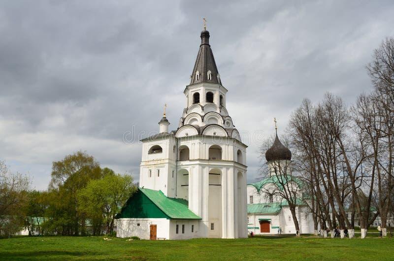 Raspyatskaya kerk-Klok Toren in Aleksandrovskaya Sloboda, Vladimir-gebied, Gouden ring van Rusland stock afbeelding
