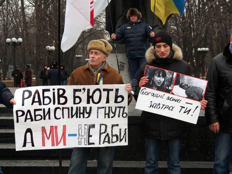 Rassemblement d'opposition dans Lugansk images libres de droits