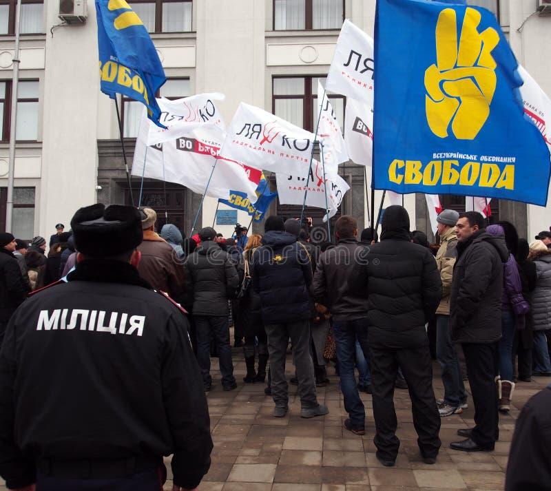 Rassemblement d'opposition dans Lugansk photo stock