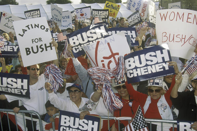 Rassemblement de campagne de Bush/Cheney en Costa Mesa, CA photos libres de droits