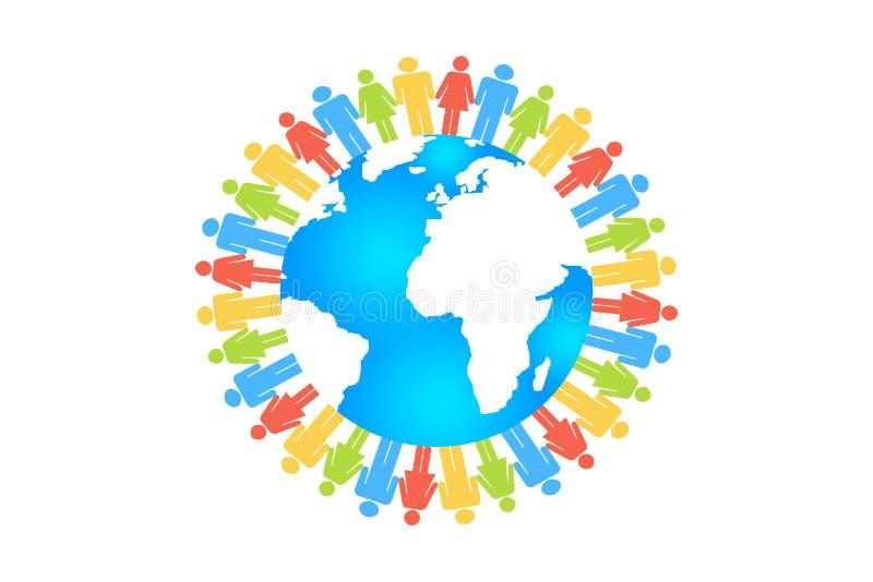 Rassemblement de cercle de gens autour de la terre illustration de vecteur