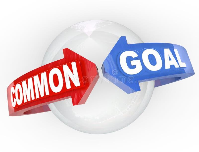 Rassemblement de flèches de l'objectif commun deux illustration de vecteur