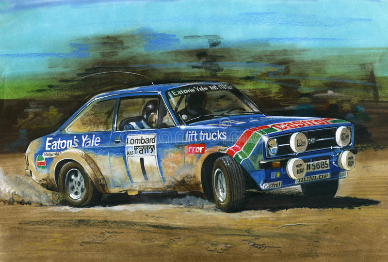 Rassemblement de Ford Escort MkII RS1800 Lombard RAC illustration libre de droits