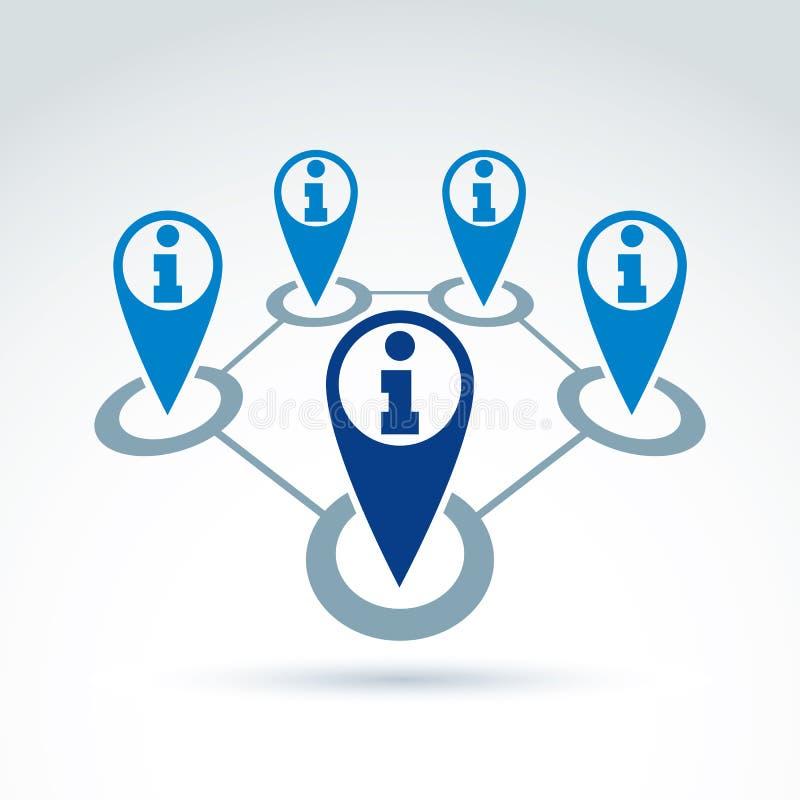 Rassemblement de l'information et icône sociaux de thème d'échange illustration stock
