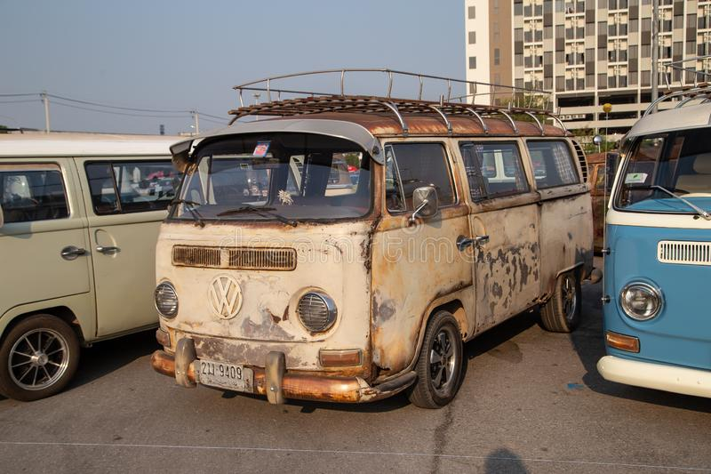 Rassemblement de VW van owners lors de la réunion de club de volkswagen images libres de droits