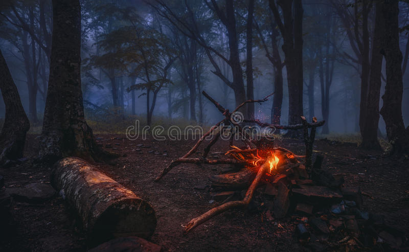 Rassemblements de soirée autour du feu de camp image stock