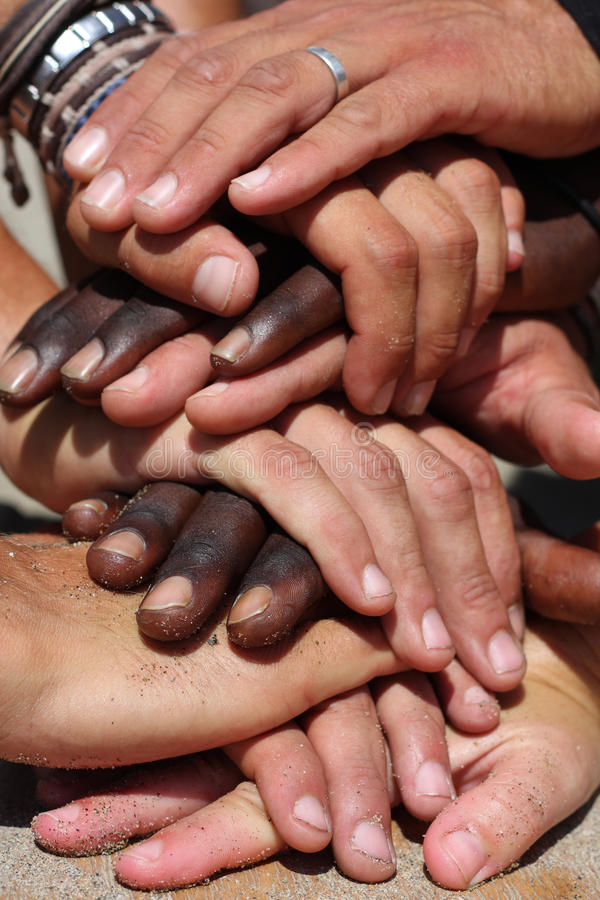 Rassen handen royalty-vrije stock foto's
