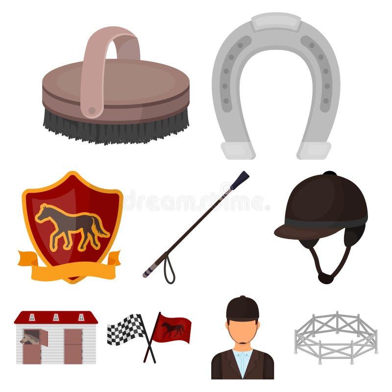 Rassen op horseback, renbaan Paardenrennen en het uitrusten van ruiters Renbaan en paardpictogram in vastgestelde inzameling op b royalty-vrije illustratie