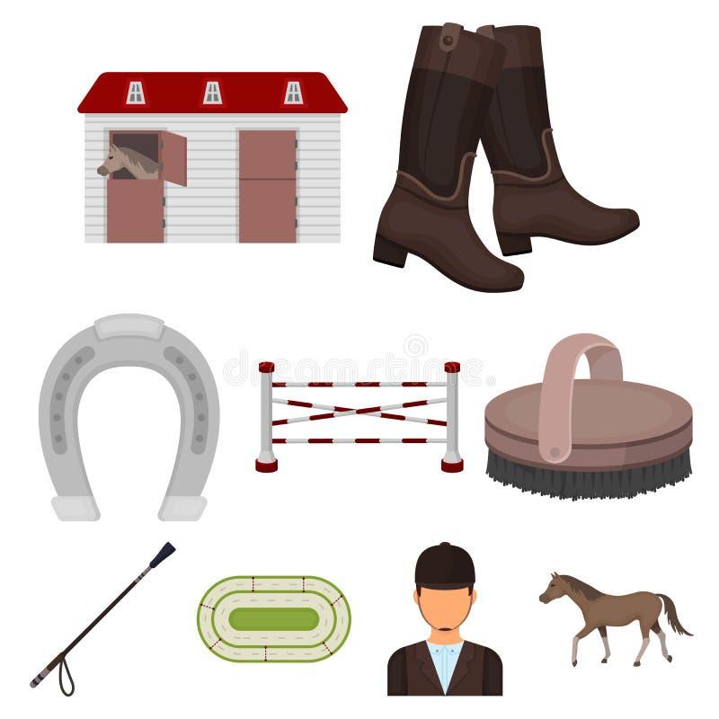 Rassen op horseback, renbaan Paardenrennen en het uitrusten van ruiters Renbaan en paardpictogram in vastgestelde inzameling op b vector illustratie