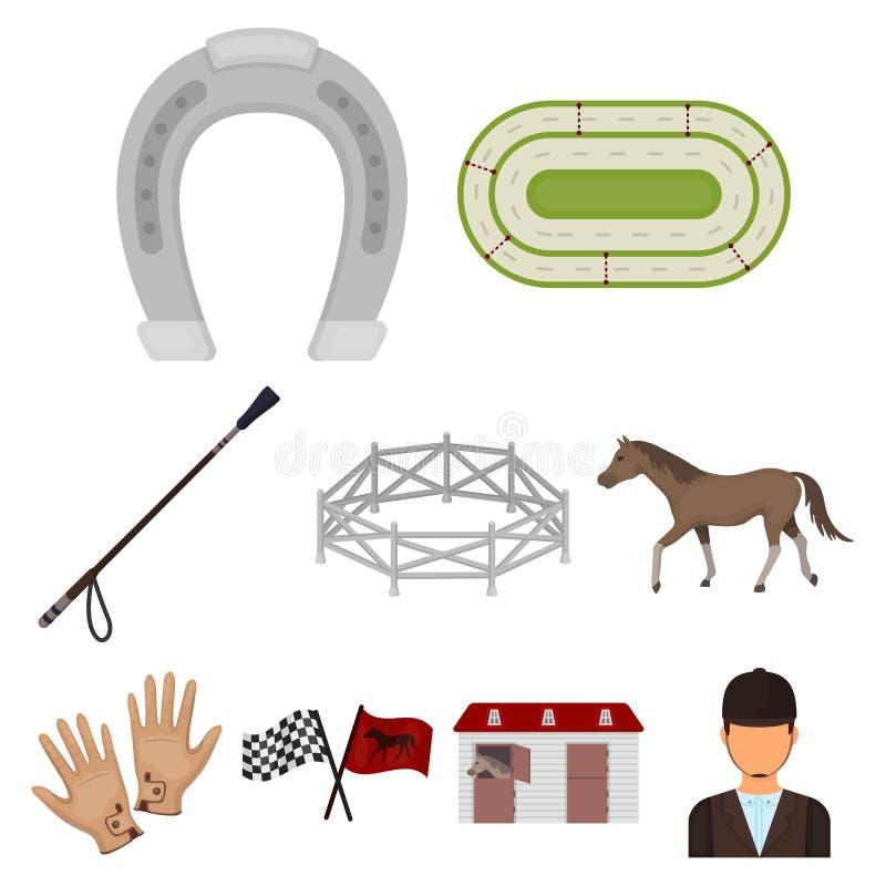 Rassen op horseback, renbaan Paardenrennen en het uitrusten van ruiters Renbaan en paardpictogram in vastgestelde inzameling op b stock illustratie