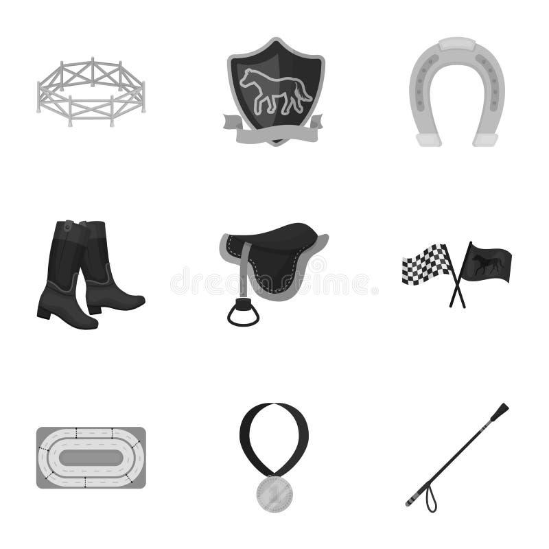 Rassen op horseback, renbaan Paardenrennen en het uitrusten van ruiters Renbaan en paardpictogram in vastgestelde inzameling  stock illustratie