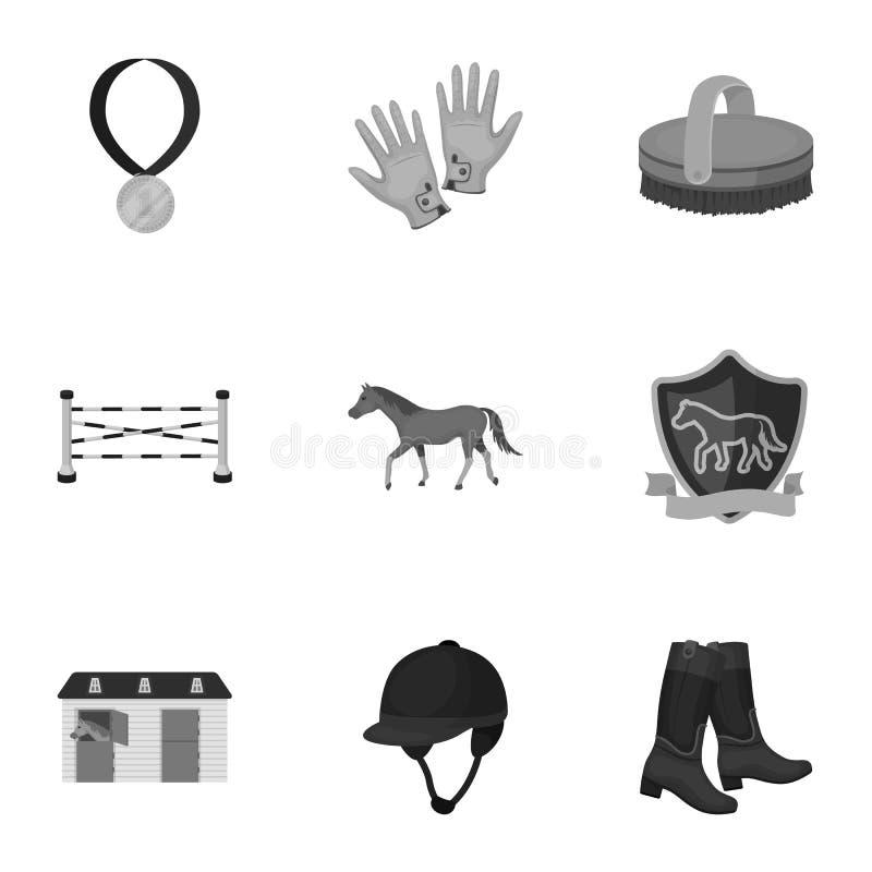 Rassen op horseback, renbaan Paardenrennen en het uitrusten van ruiters Renbaan en paardpictogram in vastgestelde inzameling  royalty-vrije illustratie