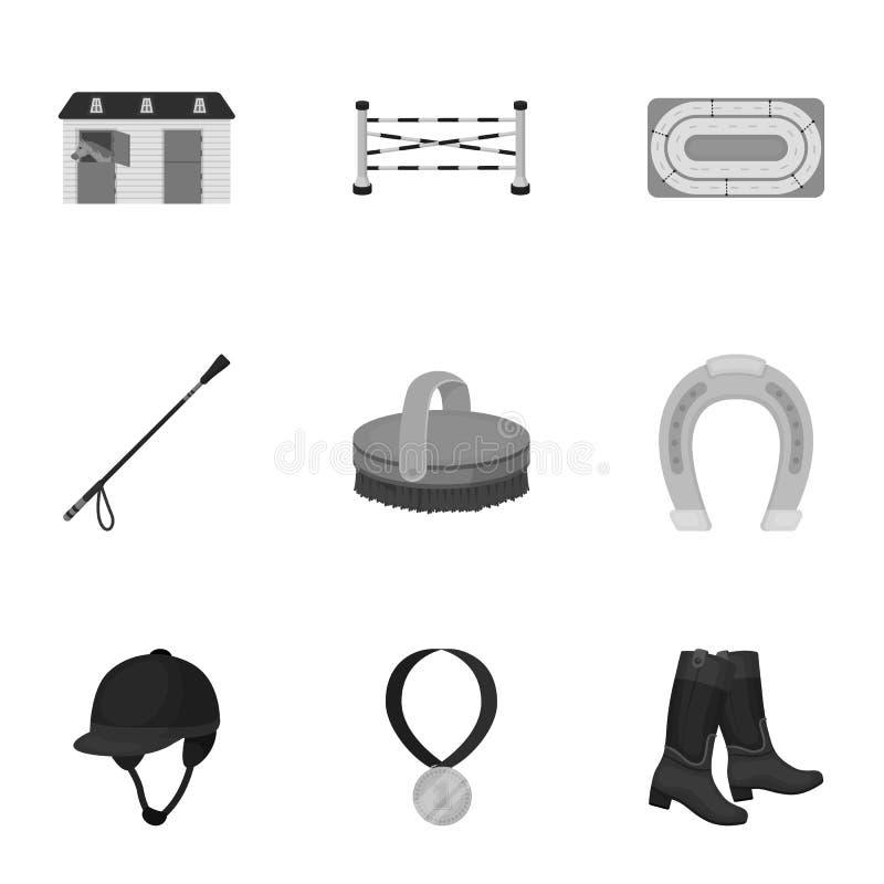 Rassen op horseback, renbaan Paardenrennen en het uitrusten van ruiters Renbaan en paardpictogram in vastgestelde inzameling  vector illustratie