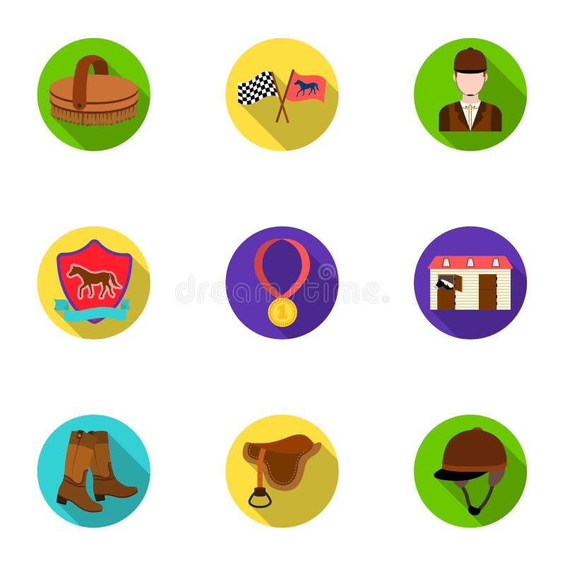 Rassen op horseback, renbaan Paardenrennen en het uitrusten van ruiters Renbaan en paardpictogram in vastgestelde inzameling op v royalty-vrije illustratie