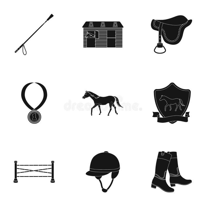 Rassen op horseback, renbaan Paardenrennen en het uitrusten van ruiters Renbaan en paardpictogram in vastgestelde inzameling op z royalty-vrije illustratie