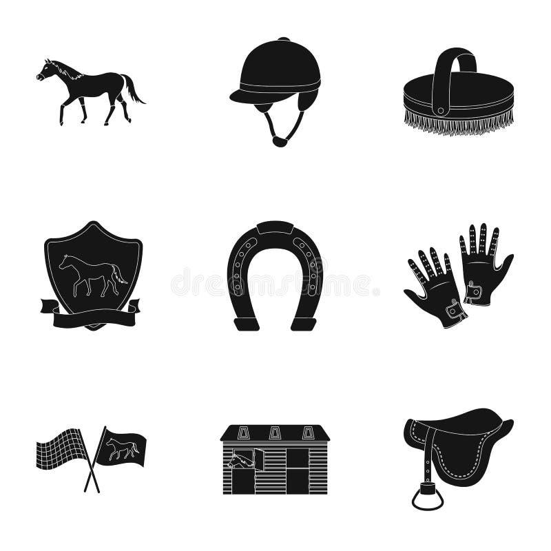 Rassen op horseback, renbaan Paardenrennen en het uitrusten van ruiters Renbaan en paardpictogram in vastgestelde inzameling op z vector illustratie